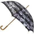 Black Umbrella with a Wooden Handle and Musical Notes