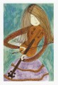 Music Theme Greeting Card 'Girl and Violin (green and purple)'